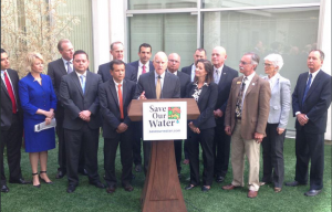 Governor Brown announces additional steps to conserve California's water. Photo courtesy Governor's Press Office.